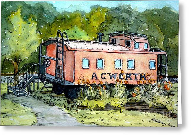 Caboose Paintings Greeting Cards - Acworth Caboose Greeting Card by Gretchen Allen