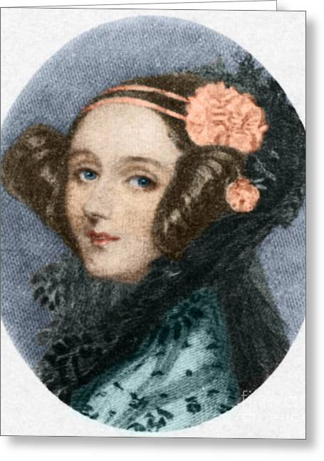 Color Enhanced Greeting Cards - Ada Lovelace Greeting Card by Science Source
