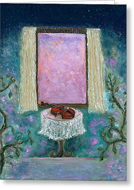 Turquoise Violin Greeting Cards - Adagio Greeting Card by Erika Morrison