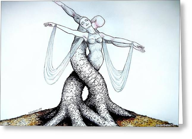 Life-cosmic Dance Greeting Cards - Adagio Of Life Greeting Card by Paulo Zerbato