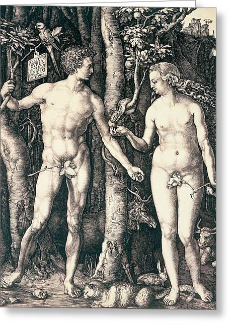 Bible Scene Greeting Cards - Adam and Eve Greeting Card by Albrecht Durer
