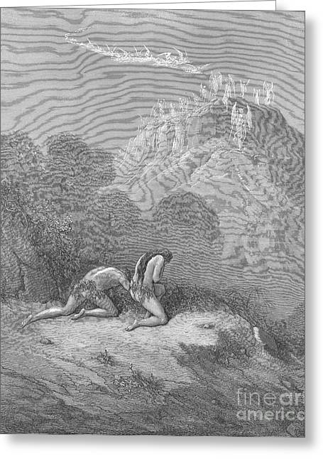 Dore Greeting Cards - Adam And Eve, By Dore Greeting Card by Photo Researchers