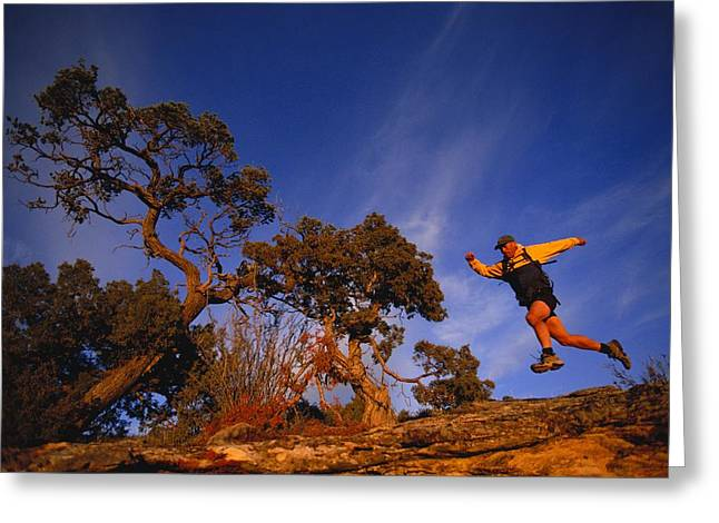 Dolores Greeting Cards - Adam Lederer Trail-runs Near Dolores Greeting Card by Bill Hatcher