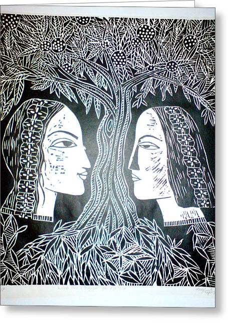 Graphic Reliefs Greeting Cards - Adam Or Eve Greeting Card by Daljeet  Kaur