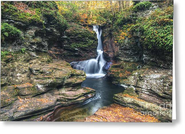Tonemapping Greeting Cards - Adams Falls on a Thursday Morning Greeting Card by Aaron Campbell