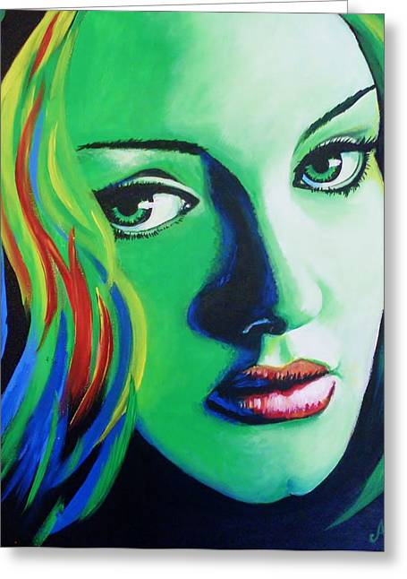 Adele Paintings Greeting Cards - Adele - Rumour Greeting Card by Anne Gardner