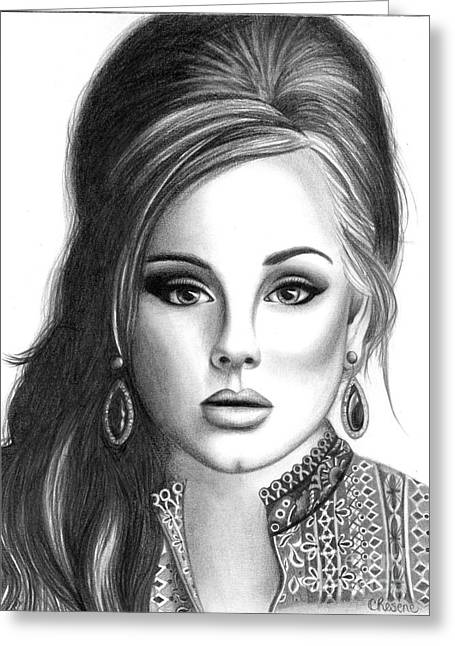 British Celebrities Drawings Greeting Cards - Adele Greeting Card by Crystal Rosene