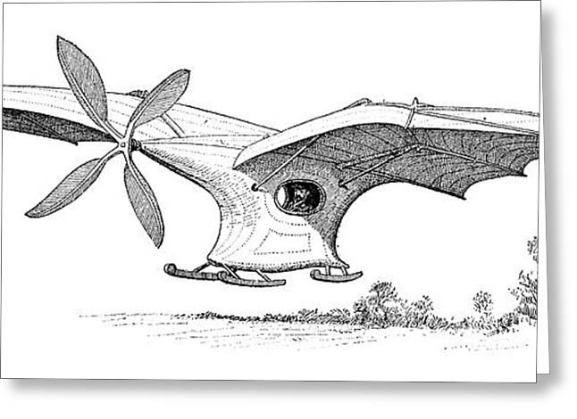 Surname A Greeting Cards - Aders Flying Machine, 19th Century Greeting Card by