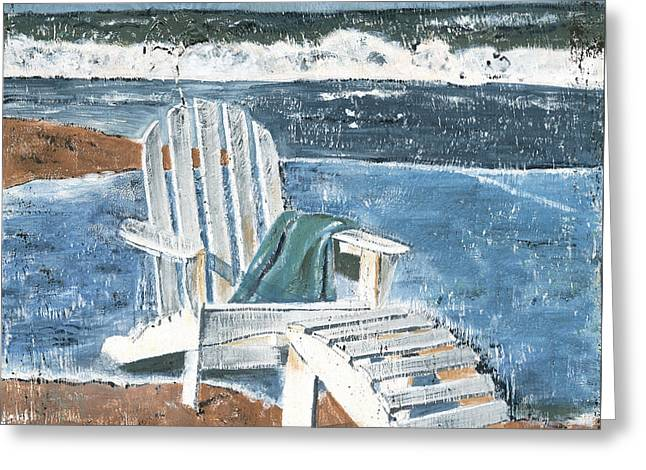 Sand Paintings Greeting Cards - Adirondack Chair Greeting Card by Debbie DeWitt