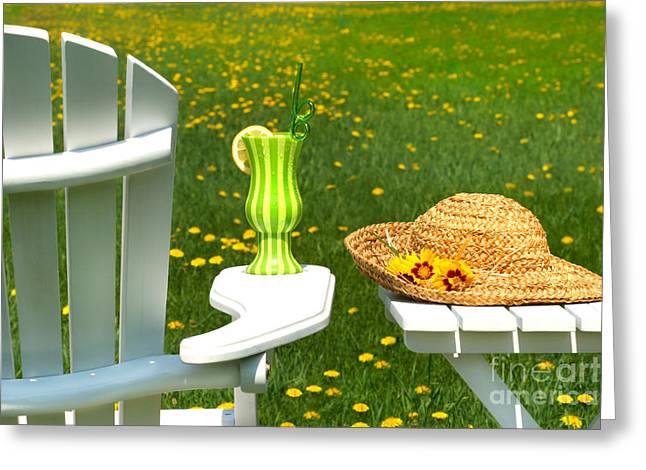 Adirondack Greeting Cards - Adirondack chair on the grass  Greeting Card by Sandra Cunningham