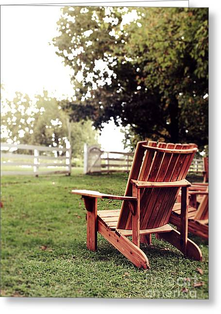Southern Comfort Greeting Cards - Adirondack Chair Greeting Card by Stephanie Frey