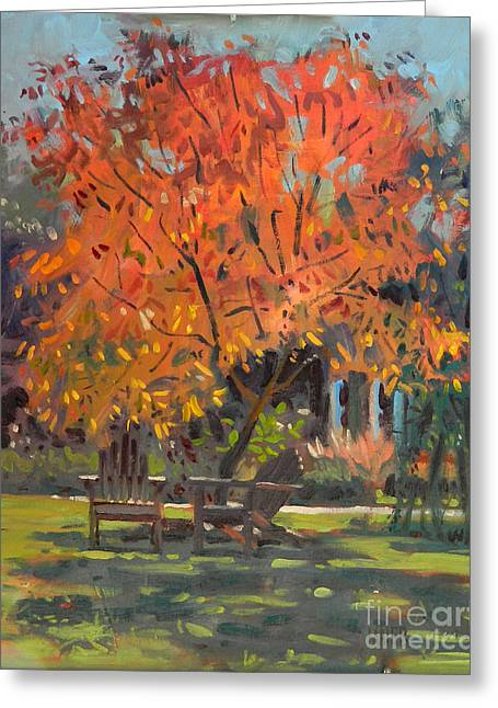 Locust Greeting Cards - Adirondack Chairs Greeting Card by Donald Maier