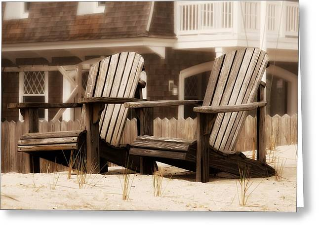 Adirondack Chairs On The Beach Greeting Cards - Adirondack Chairs On The Beach - Jersey Shore Greeting Card by Angie Tirado