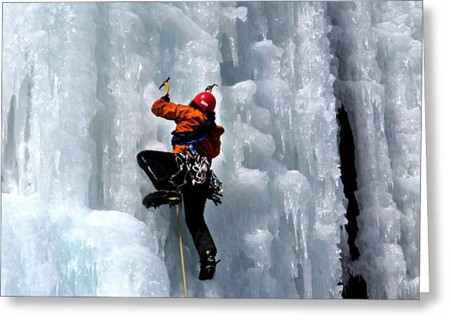 Adirondack Ice Climber  Greeting Card by Brendan Reals