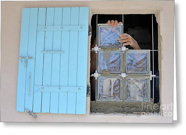 55-59 Years Greeting Cards - Adjusting glass cubes Greeting Card by Sami Sarkis