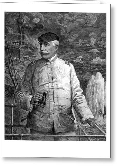 Naval History Greeting Cards - Admiral Dewey At Sea Greeting Card by War Is Hell Store