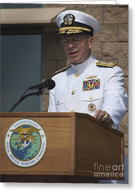 Mullen Greeting Cards - Admiral Mike Mullen Speaks Greeting Card by Michael Wood