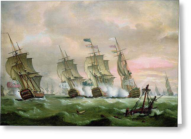 War Ship Greeting Cards - Admiral Sir Edward Hawke defeating Admiral de Conflans in the Bay of Biscay Greeting Card by Thomas Luny