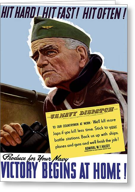 Williams Digital Art Greeting Cards - Admiral William Bull Halsey Greeting Card by War Is Hell Store