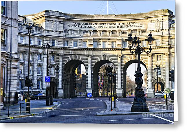 Lampposts Greeting Cards - Admiralty Arch in Westminster London Greeting Card by Elena Elisseeva
