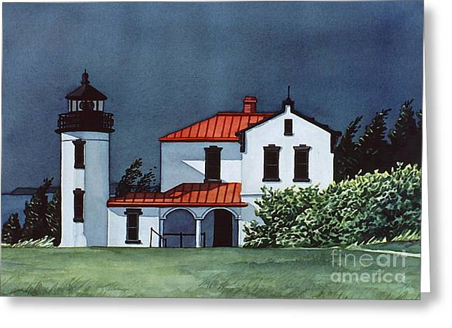 Scott Nelson Paintings Greeting Cards - Admiralty Head Light Greeting Card by Scott Nelson