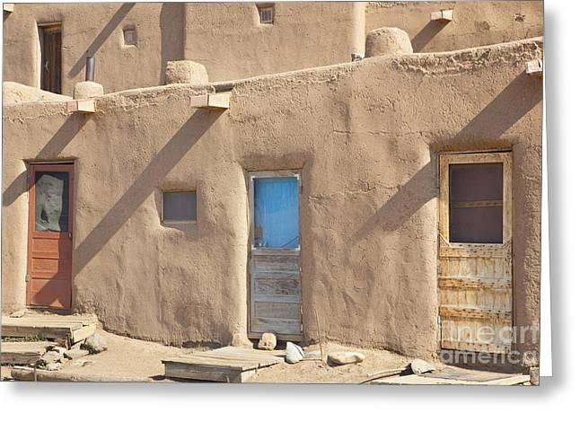 Taos Greeting Cards - Adobe Buildings of Taos Greeting Card by Bryan Mullennix