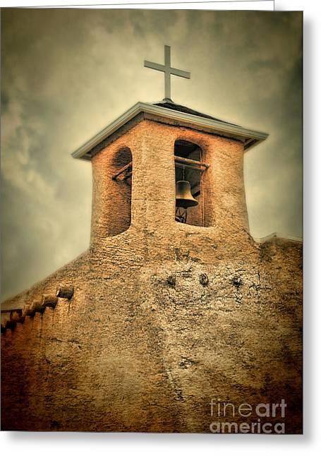 Adobe Greeting Cards - Adobe Church Bell Tower Greeting Card by Jill Battaglia