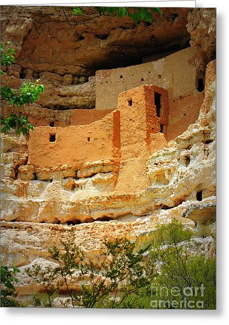 Adobe Greeting Cards - Adobe Cliff Dwelling Greeting Card by Carol Groenen