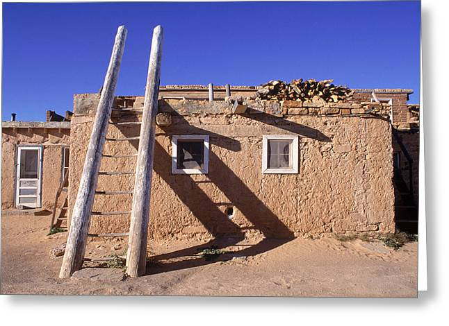 Pueblo Architecture Greeting Cards - Adobe Houses And  A Ladder Casting Greeting Card by Ira Block
