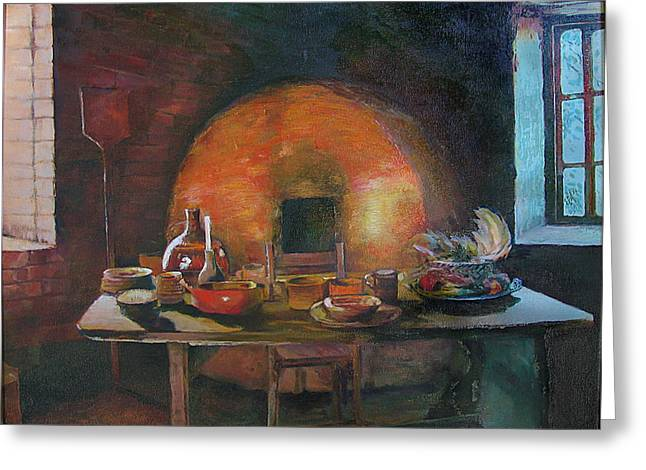 Bottle Cap Paintings Greeting Cards - Adobe Oven House Greeting Card by Natalya Shvetsky