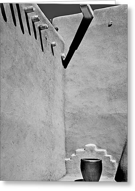 Taos Greeting Cards - Adobe Wall and Pot Greeting Card by Melany Sarafis