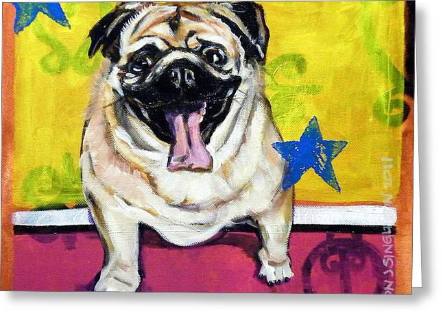Dog Close-up Paintings Greeting Cards - Adopt Me Greeting Card by Clayton Singleton