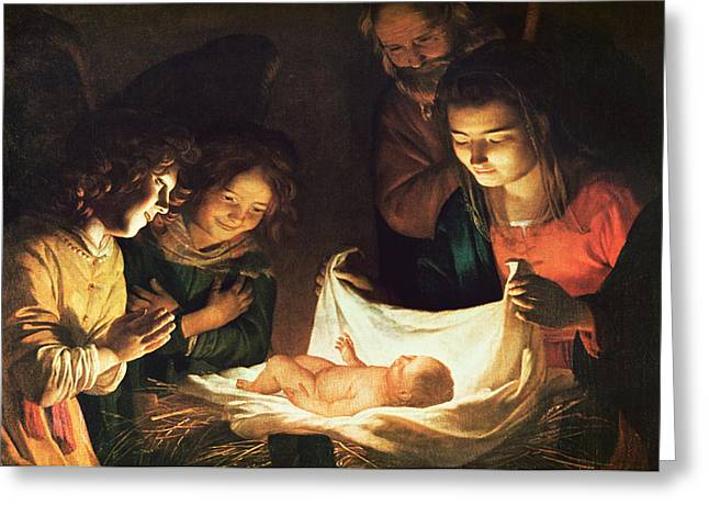Angel Greeting Cards - Adoration of the baby Greeting Card by Gerrit van Honthorst