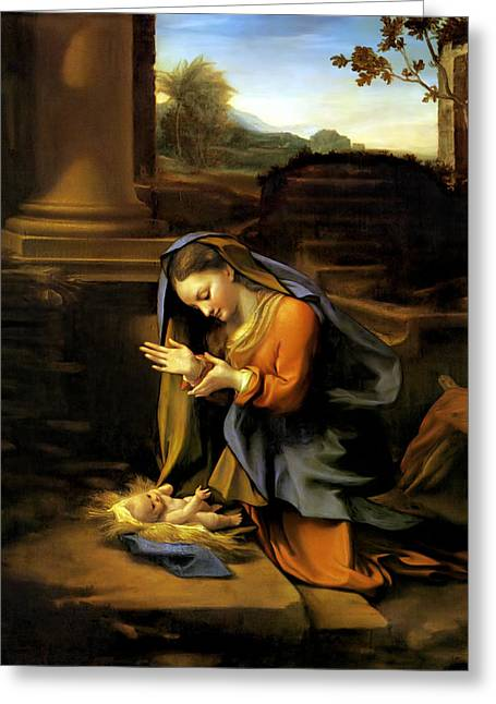 Jesus And The Children Print Greeting Cards - Adoration of the Child Greeting Card by Correggio