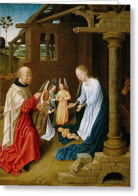 Holy Cow Greeting Cards - Adoration of the Christ Child  Greeting Card by Master of San Ildefonso