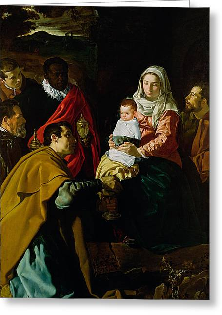 Magi Greeting Cards - Adoration of the Kings Greeting Card by Diego rodriguez de silva y Velazquez