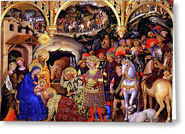 Magi Greeting Cards - Adoration of the Kings Greeting Card by Gentile da Fabriano