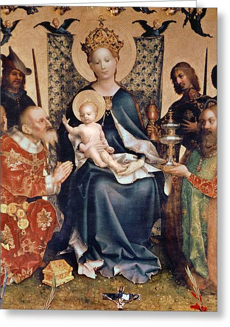 Christ Child Greeting Cards - Adoration of the Magi altarpiece Greeting Card by Stephan Lochner