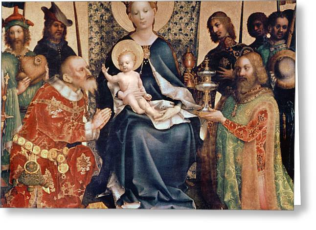 Adoration of the Magi altarpiece Greeting Card by Stephan Lochner