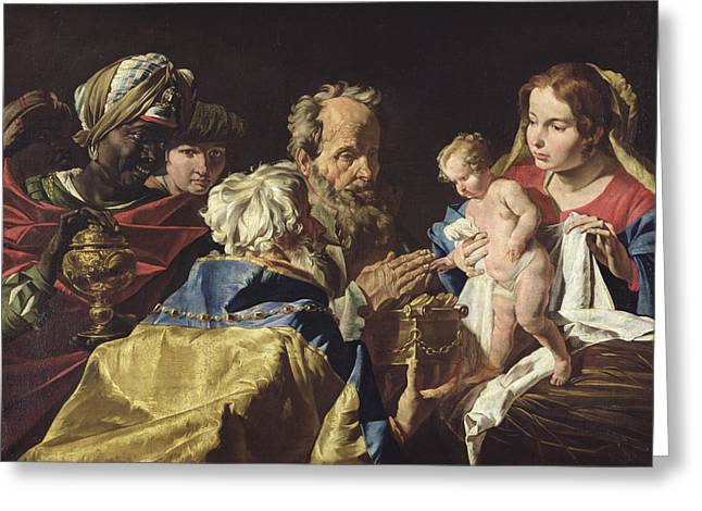 Magi Greeting Cards - Adoration of the Magi  Greeting Card by Matthias Stomer