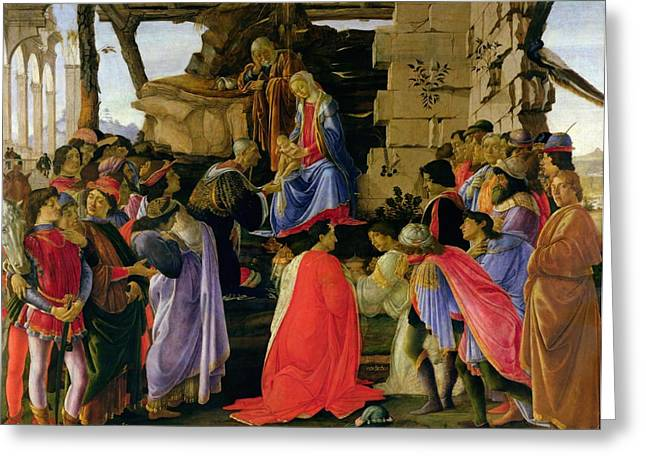 Magi Greeting Cards - Adoration of the Magi Greeting Card by Sandro Botticelli