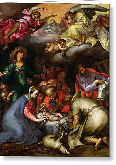 Adoration Of The Shepherds; Shepherd; Infant Jesus Christ; Baby; Child; Joseph; Virgin Mary; Madonna; Holy Family; Stable; Manger; Ox; Oxen; Straw Greeting Cards - Adoration of the Shepherds Greeting Card by Abraham Bloemaert