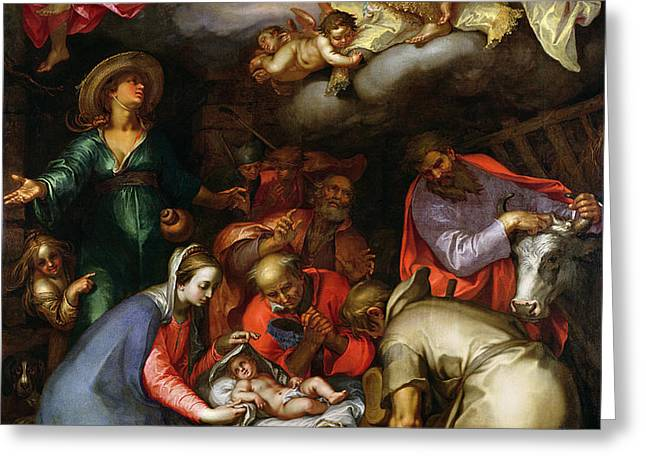 Adoration of the Shepherds Greeting Card by Abraham Bloemaert