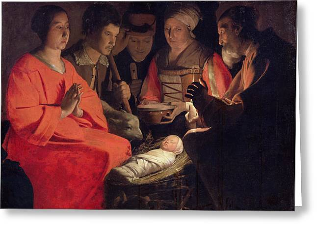 Manger Greeting Cards - Adoration of the Shepherds Greeting Card by Georges de la Tour