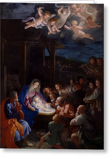 Christ Child Greeting Cards - Adoration Of The Shepherds Greeting Card by Guido Reni