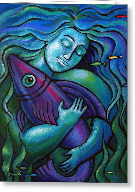 Ocean Artist Greeting Cards - Adoring My Dream Greeting Card by Angela Treat Lyon