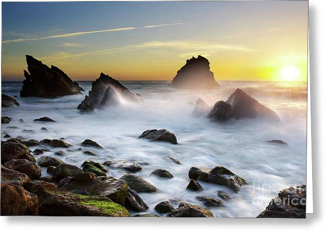 Ocean Spray Greeting Cards - Adraga Beach Greeting Card by Carlos Caetano