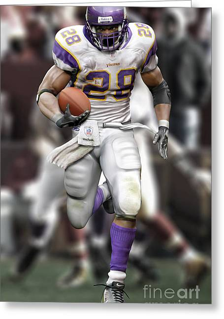 Adrian Peterson Greeting Cards - Adrian Peterson Running Greeting Card by Douglas Petty