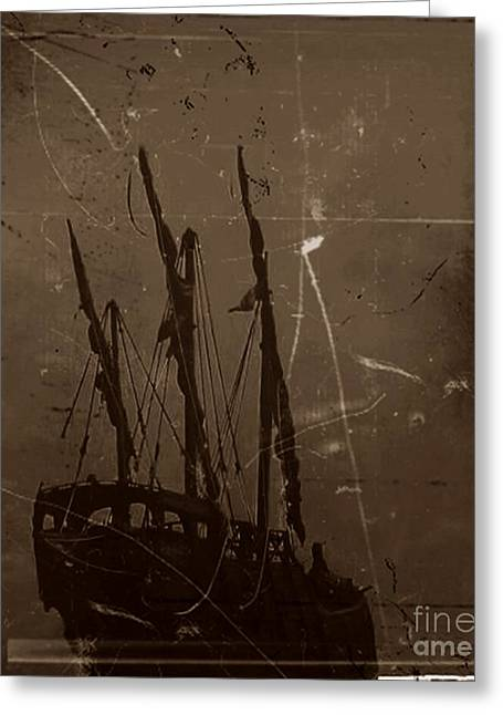 Masts Mixed Media Greeting Cards - Adrift in a Sea Mist Greeting Card by Blair Stuart