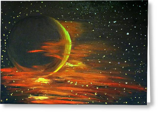 Constellations Paintings Greeting Cards - Adrift - in Space Greeting Card by Lady I F Abbie Shores